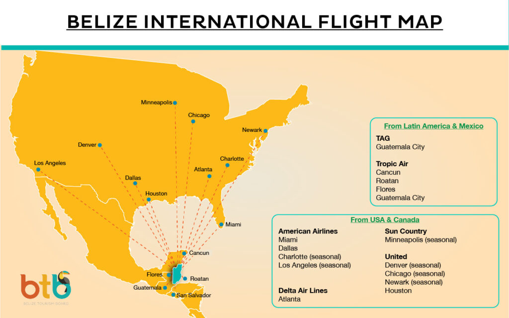 belize location and US flights